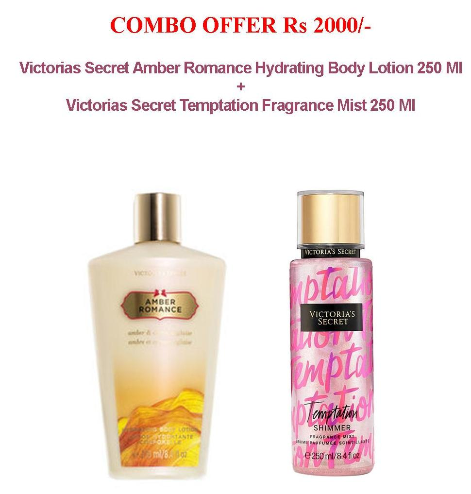 b35ab2efd6 COMBO OFFER Victorias Secret Amber Romance Hydrating Body Lotion 250 Ml + Victorias  Secret Temptation Fragrance Mist 250 Ml