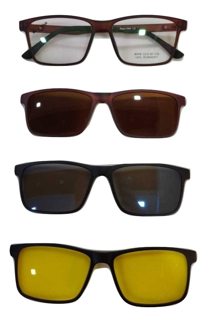 Unisex Plastic Magnetic Eyewear Frames With 3 Clip On - Polarized, Mercury & Night Vision - Total Pack Of 4 ( 1 Frame + 3 Clip On) Code 004