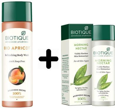 Combo Biotique Bio Apricot Refreshing Body Wash, 190ml  + Biotique Morning Nectar Flawless Skin Lotion for All Skin Types, 120ml